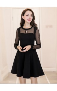 KDS1211303M Mesh sleeves skater black dress REAL PHOTO