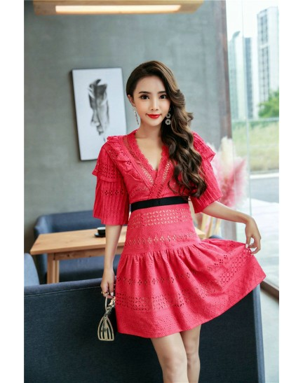 KDS12121316H SP V neck lace dress REAL PHOTO