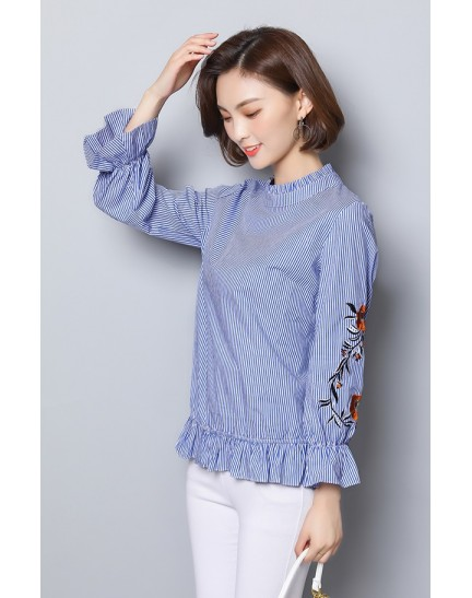 KTP12121988Y Plus size stripes embroidery blouse REAL PHOTO