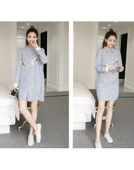 KDS12131288Y Stripes dress with embroidery bird REAL PHOTO