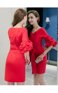 KDS12146605A Puff sleeves dress with bow REAL PHOTO