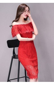 KDS1214683J Off shoulder full lace dress REAL PHOTO