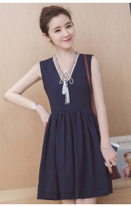 KDS12143015D Linen V neck dress REAL PHOTO