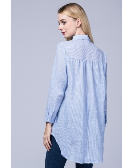 KTP12142861M Embroidery stripes blouse REAL PHOTO