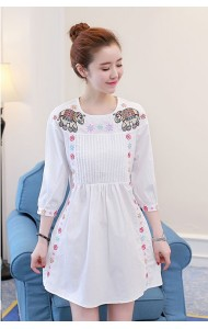 KDS1214126M Embroidery elephant dress REAL PHOTO