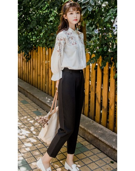 KTP12158899X Puff sleeves embroidery floral shirt REAL PHOTO