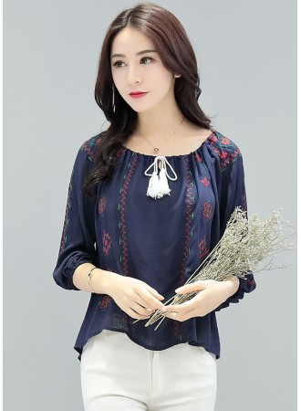 KTP12157359M Embroidery off shoulder blouse REAL PHOTO
