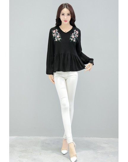 KTP12156359M Embroidery V neck t shirt REAL PHOTO