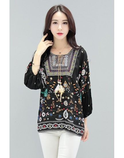 KTP12158359M Embroidery printed blouse REAL PHOTO