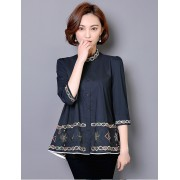 KTP12159566J Plus size embroidery blouse REAL PHOTO