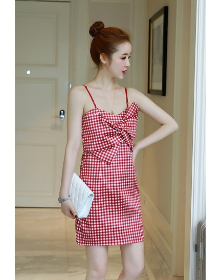 KDS1216819S Plaid strappy dress REAL PHOTO