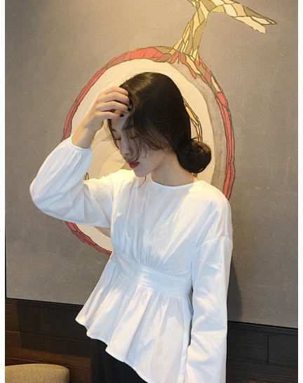 KTP12171891H Bared back puff sleeves shirt REAL PHOTO