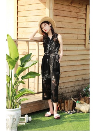 KJP12190828H Overlapping lace jumpsuit REAL PHOTO