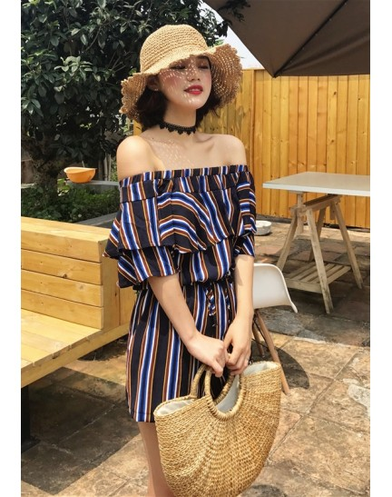 KJP12192271Y Off shoulder stripes jumpsuit REAL PHOTO