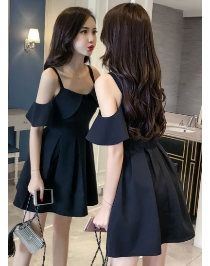 KDS12198886B Off shoulder skater dress REAL PHOTO