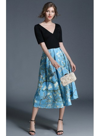 BDS12201715X V neck floral midi dress REAL PHOTO