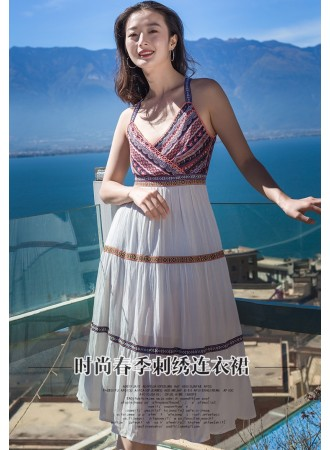 KDS12219607X V neck embroidery strappy dress REAL PHOTO