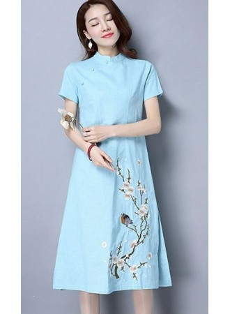 KDS12271080A Linen embroidery cheongsum dress REAL PHOTO