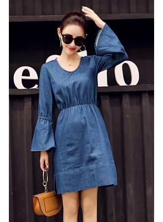 KDS01082165D Trumpet sleeves soft denim dress REAL PHOTO
