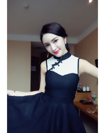 KDS0108126B Mesh shoulder cheongsum dress REAL PHOTO