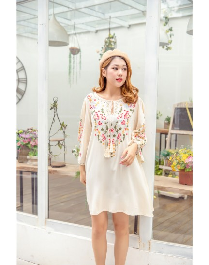 KDS01088499S Embroidery linen dress/ blouse REAL PHOTO