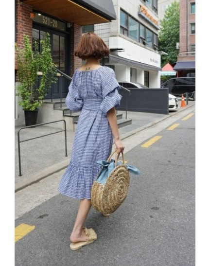 KDS01095760O Korea off shoulder puffy dress REAL PHOTO