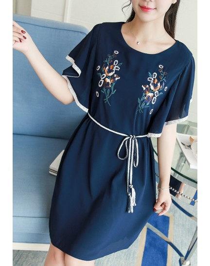 KDS0110056Z 2018 embroidery trumpet sleeves dress REAL PHOTO