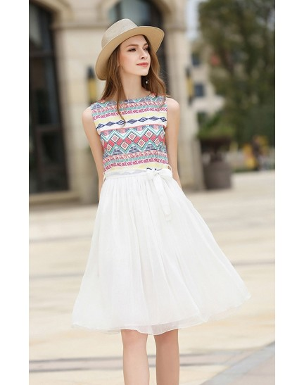 BDS011002AJ Embroidery skater dress REAL PHOTO