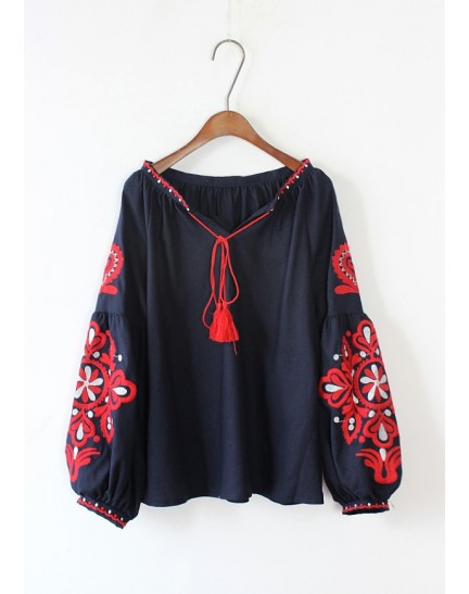 KDS01105418W Embroidery puff sleeves blouse REAL PHOTO