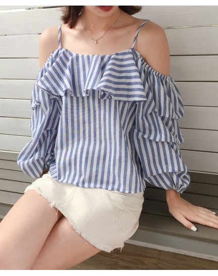 KTP01108318F Off shoulder puffy blouse REAL PHOTO
