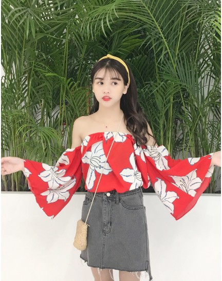 KTP0116118F Trumpet sleeves floral blouse REAL PHOTO