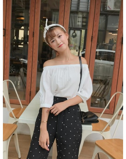 KTP01103318F Shoulder off chiffon blouse REAL PHOTO