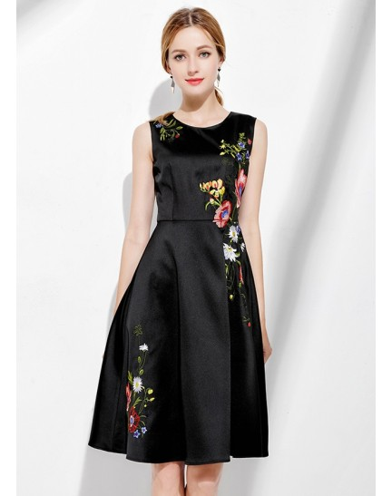 BDS01112666Y Embroidery skater dress REAL PHOTO