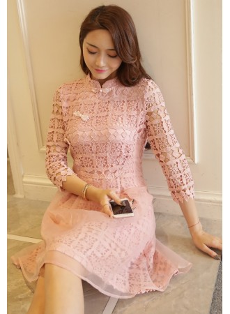 KDS01117171Y Crochet organza cheongsum dress REAL PHOTO