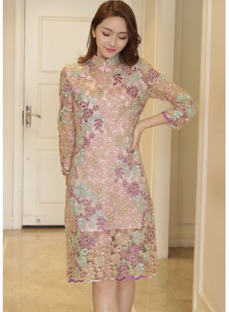 KDS01128171Y Floral embroidery cheongsum dress REAL PHOTO