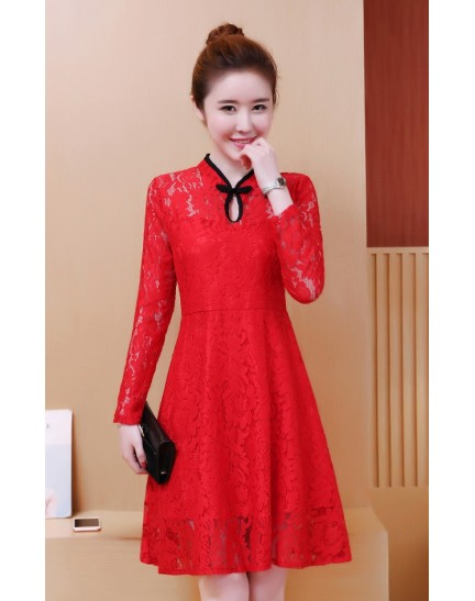 KDS01120255X Full lace skater cheongsum dress REAL PHOTO