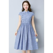 KDS01125181A Cheongsum linen drawstring dress REAL PHOTO