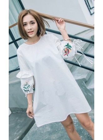 KDS01129009M Embroidery puff sleeves dress REAL PHOTO