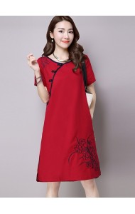 KDS01130165S Embroidery linen cheongsum dress REAL PHOTO