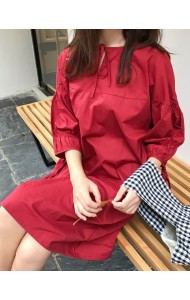 KDS0115575J Puff sleeves basic maroon dress REAL PHOTO