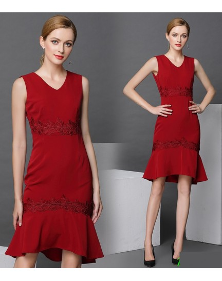 BDS01153566W Mermaid embroidery dress REAL PHOTO