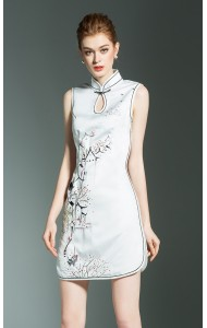 BDS01152856Y Embroidery silk cheongsum dress REAL PHOTO