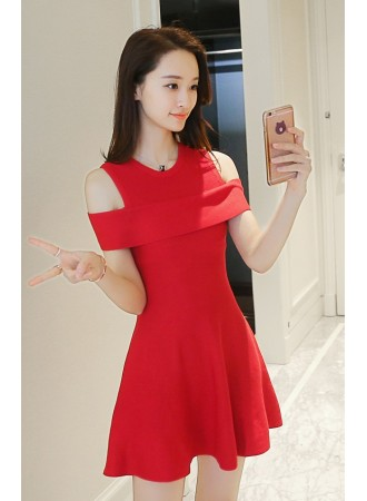 KDS011556CS Off shoulder knit dress REAL PHOTO