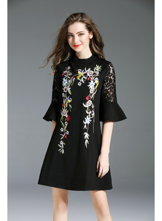 BD01166236D 2018 embroidery lace sleeves dress REAL PHOTO