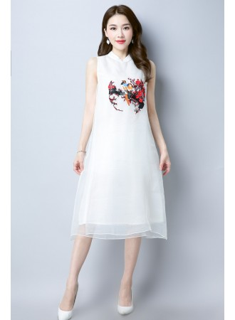 KDS01173353L Organza embroidery cheongsum dress REAL PHOTO