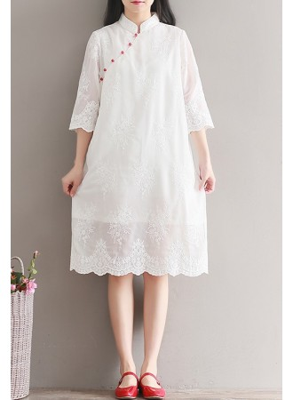 KDS01175809X Plus size full lace cheongsum dress REAL PHOTO