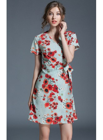 BDS01177715X Overlapping floral dress REAL PHOTO
