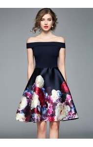 BDS0117671T Off shoulder floral dress REAL PHOTO