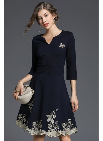 BDS01186525X Embroidery skater dress REAL PHOTO
