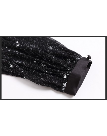 BDS0306081T Overlapping puff sleeves glitter prom dress REAL PHOTO